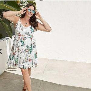 Torrid Ivory Floral Chiffon Dress 3 3x 22 Plus NEW